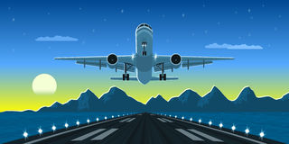 Plane taking off. Picture of a landing or taking off plane with mountains and big city silhouette on background, flat style illustration Royalty Free Stock Photo
