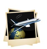 Plane taking off from planet space on photoframe Royalty Free Stock Photos