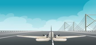 A Plane Taking Off  Runway. Illustration Royalty Free Stock Photo