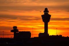 Amsterdam Schiphol airport sunset Stock Photo