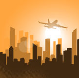 Plane taking off at sunset background Royalty Free Stock Photography
