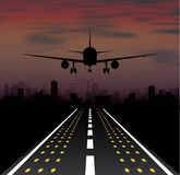 The plane is taking off at sunset and night city. Vector illustration Stock Image