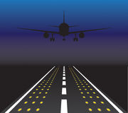 The plane is taking off at sunset. Vector illustration Royalty Free Stock Photo