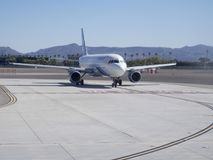 Plane taxiing at McCarran International Airport stock photography