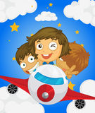 A plane with three kids Royalty Free Stock Images