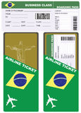 Plane ticket in business class flight to Brazil Stock Photography