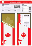 Plane ticket in business class flight to Canada Stock Photos