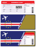 Plane ticket in business class flight to Cape Verde Stock Photo