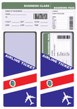 Plane ticket in business class flight to Costa Rica Royalty Free Stock Photos