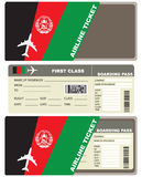 Plane ticket first class in Afghanistan. Vector illustration Royalty Free Stock Image