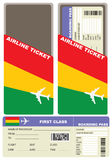 Plane ticket first class in Bolivia. Vector illustration Royalty Free Stock Photos