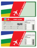 Plane ticket first class in Central African Republic. The ticket for the trip to Central African Republic. A ticket to the service packaging envelope Stock Photo