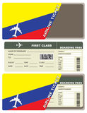 Plane ticket first class in Colombia. Vector illustration Royalty Free Stock Photos