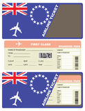 Plane ticket first class in Cook Islands Royalty Free Stock Images