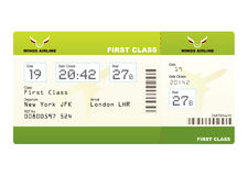Plane ticket first class green. Travel with stub and gate number Stock Photo