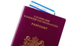 Plane ticket in a passport. Royalty Free Stock Images