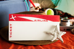 Plane Ticket for Summer Holiday Stock Images