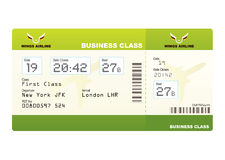 Plane tickets business class green. Boarding pass and gate number Stock Photo