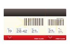 Plane tickets first class swipe. First class plane ticket or boarding pass in red with barcode Royalty Free Stock Images