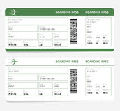 Plane tickets green boarding pass and gate number Royalty Free Stock Image