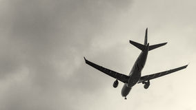 Plane about to land at the Taoyuan International Airport, Taiwan Stock Images