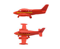Plane toy. Isolated red color plane toy with yellow stripe photo in different angles Stock Photography