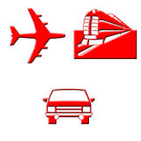 Plane train auto icons Royalty Free Stock Photos