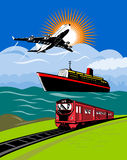 Plane train boat ship Royalty Free Stock Image