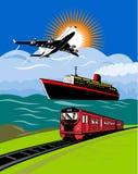 Plane train boat ship Royalty Free Stock Image