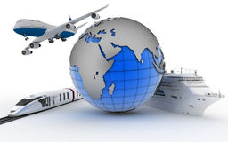 The plane, the train, the cruise ship and globe. International transport concept for trips and tourism Stock Photos