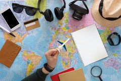 Plane travel planning on map top view Stock Images