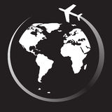 Plane travel round world, vector illustration Stock Photography