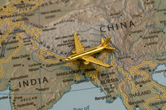 Plane Traveling From China to India Stock Photos