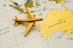 Plane Traveling Over Australia Royalty Free Stock Photography