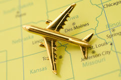 Plane Traveling Over the Midwest. Royalty Free Stock Images