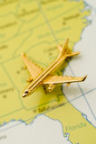 Plane Traveling Over the Southeast Stock Images