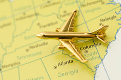 Plane Traveling Over Southern United States. Royalty Free Stock Images