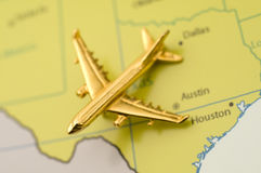 Plane Traveling Over Texas Stock Photography