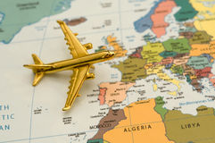 Plane Traveling to Europe royalty free stock photography