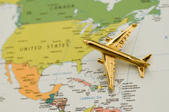 Plane Traveling to North America. Map is Copyright Free From a Government Website Stock Photos