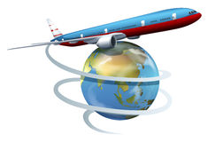 A plane travelling around the globe Royalty Free Stock Photo