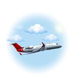 A plane travelling. Illustration of a plane travelling on a white background Royalty Free Stock Images