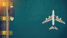 Plane trucks are flying towards the destination with the brighte Stock Photos
