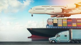 Plane trucks are flying towards the destination with the brighte Stock Images