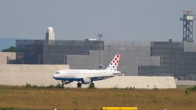 Plane turn to the executive. FRANKFURT AM MAIN, GERMANY - JULY 19, 2017: Croatia Aairlines Airbus 319 at the executive before take-off at runway 18. Fraport stock video footage
