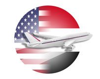 Plane, United States and Egypt flags. Plane on the background flags of the United States and Egypt Royalty Free Stock Photos