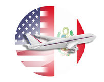 Plane, United States and Peru flags. Plane on the background flags of the United States and Peru Royalty Free Stock Images