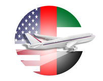 Plane, United States and United Arab Emirates. Plane on the background flags of the United States and the United Arab Emirates royalty free stock photos