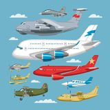 Plane vector aircraft or airplane and jet flight transportation in sky illustration aviation set of aeroplane or Royalty Free Stock Images