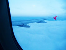 Plane view. Dence clouds, plane view and a little sun Royalty Free Stock Images